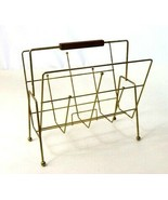 Vtg Mid Century Modern Metal Wire Retro Atomic Magazine Rack News Paper ... - $48.50