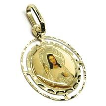Pendentif Médaille, or Jaune 750 18K, Christ Miséricordieux, Double Cadre image 1