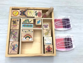 Melissa & Doug Stamper Set in Wood Tray 17 Craft Stamps & Two Ink Pads  - $11.60