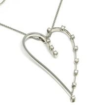 18K WHITE GOLD NECKLACE, BIG HEART PENDANT, 0.44 CARATS DIAMONDS, EAR CHAIN image 1