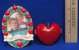 1993 Hallmark Keepsake First Christmas Together Frame & Heart Ornaments Lot of 2 - $10.88
