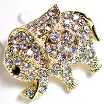 "Gold Tone Pave Crystal Elephant 1.25"" Pin Brooch New With Tags image 3"