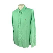 Ralph Lauren Polo Men's Chambray Oxford Long Sleeve 100% Cotton Green Sh... - $18.79