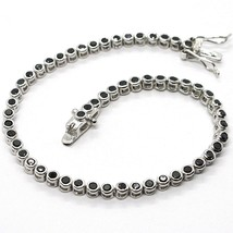 Tennis Bracelet, 925 Silver, Zircon Cubic Black, Brilliant Cut, 3 MM - $39.64+