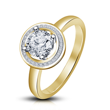 Round Brilliant Cut Halo Style Solitaire Engagement Ring 14K Yellow Gold... - $68.45