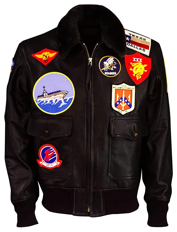 Tom cruise top gun maverick fur collar aviator pilot bomber brown leather jacket