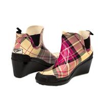 Women Plaid Ankle Wedge Rain Boots - £22.90 GBP