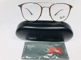 New Authentic Ray Ban RB 6377 2905 Brown & Gold Eyeglasses 50/21/145 with Case - $127.88