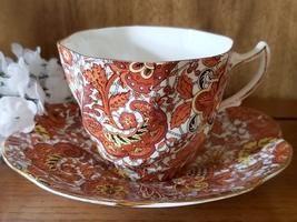 Vintage Orange Paisley English Teacup and Saucer - $23.95