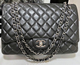 100% AUTHENTIC CHANEL CHARCOAL GREY QUILTED LAMBSKIN MAXI DOUBLE FLAP  BAG SHW