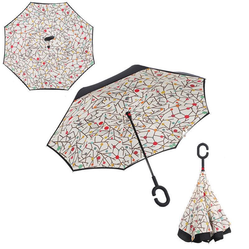 Starry Sky Anti UV Inverted Umbrella Reverse Folding Double Layer