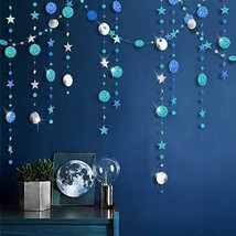 Ice Blue Silver Circle Dot Garland kit for Navy Blue Twinkle Little Star... - $17.28