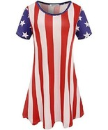 Flag Apparel Womens Dress Casual Stretchy Tunic Shirt Skater Stars Strip... - $38.87