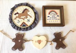 Lot of 2 Cross Stich Frames & 1 Stringed Wood Bears w Heart Country Farm... - $18.69