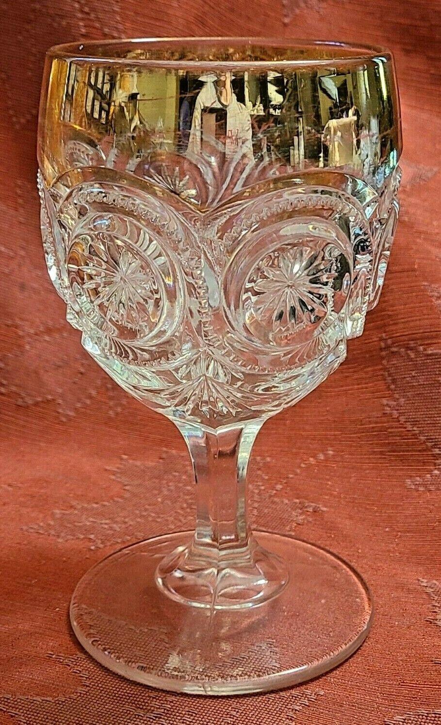 """Antique Goblet Glass Gold Trim EAPG Star in Bullseye Water Pressed 5 3/4"""""""