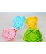 BEE HIPPO BUTTERFLY FROG 4 Different Shape Cookie Cutter Plastic STAMP M... - $10.00