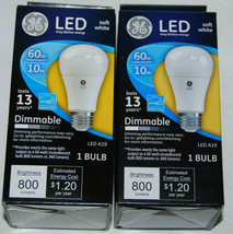 GE LED Dimmable 60W Replacement Light Bulb 10W Soft White A19 Lot of 2 NEW - $23.74