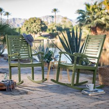 Set of 2 Outdoor Solid Hard Wood Olive Green Outdoor Porch Rocking Chair... - €300,20 EUR