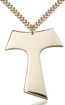 Tau Franciscan 1 1/2 x 1 1/4 Inch 14kt Gold Filled Cross Necklace Pendant - $209.99