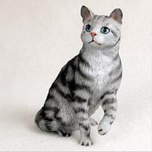 SHORTHAIRED SILVER TABBY CAT Figurine Statue Hand Painted Resin Gift - $17.25