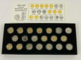 1999 & 2000 State Quarters 24 Karat Gold Plated 20 Coin Collectors Set D... - $45.53