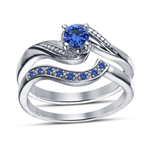 Blue Sapphire Womens Engagement Ring Set 14k White Gold Finish 925 Solid... - $87.99