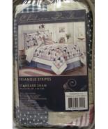 Chelsea Park Pillow Sham Triangle Stripe Red Blue White Standard America... - $14.84