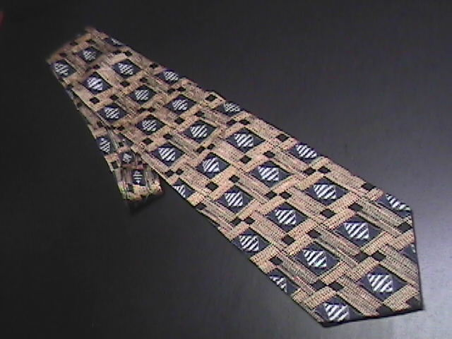 JZ Richards Silk Dress Neck Tie Bright Thatched Golds Dark Accents in Blues
