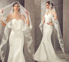 White or ivory 3M/10ft 1T lace appliqué edge cathedral wedding veil with comb - $51.48