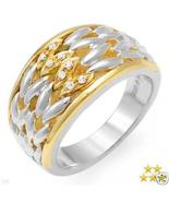 18K Gold and Sterling Silver Genuine Diamond Ri... - $175.00