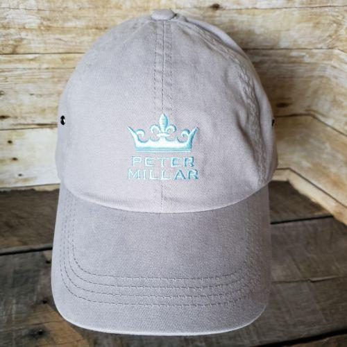Peter Millar Gray Baseball Strapback Crown Logo Cap Golf Hat - NEW 58c8fc360a7