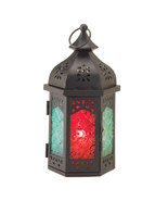 Tabletop Lantern w alluring hues of a Moroccan night - $11.99