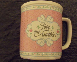 Enesco Pink Coffee Tea Mug 1988 David Gish Ceramic Love One Another - $6.95