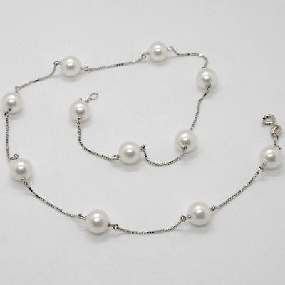 18K WHITE GOLD NECKLACE, VENETIAN CHAIN ALTERNATE WITH AKOYA WHITE PEARLS 8.5 MM