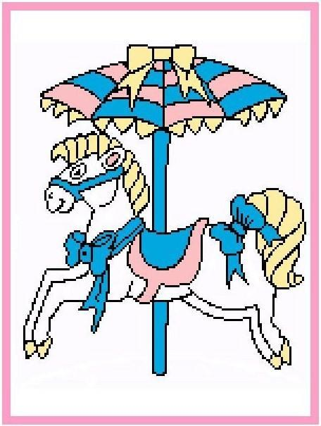 Carousel Horse (2) Color Graph Afghan Pattern
