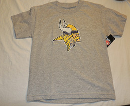 NEW Kids Minnesota Vikings T Shirt Sizes 8 & 18 Football NFL Gray Short ... - $27.05