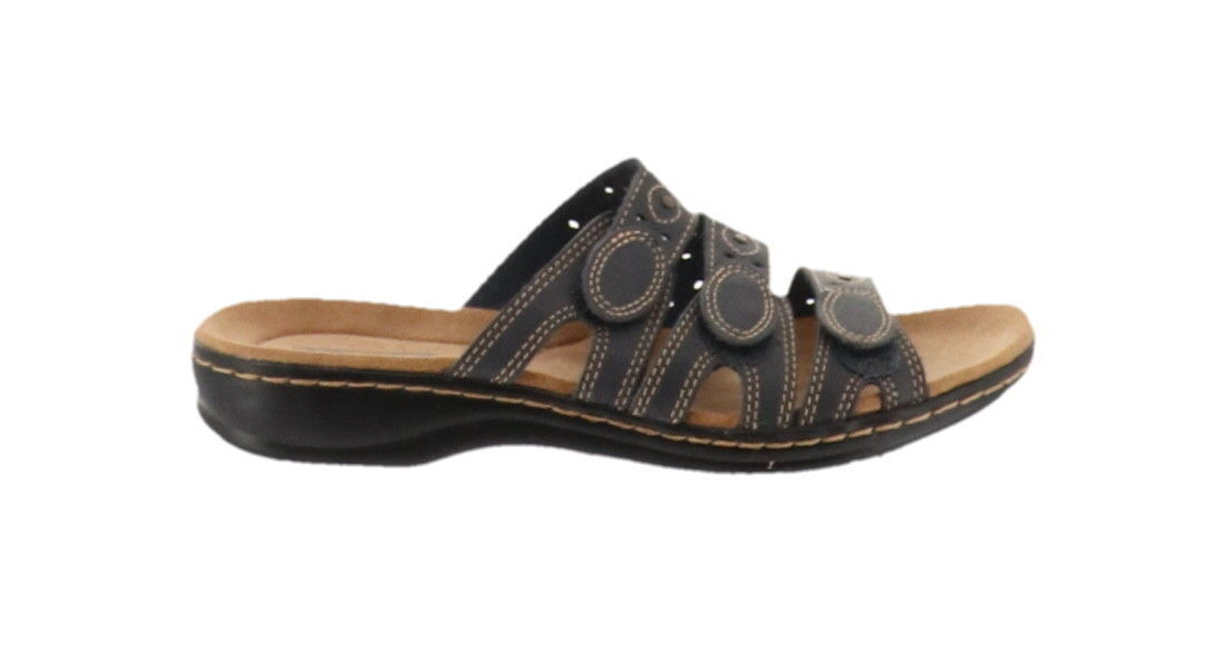 9378c31b7ec6 Clarks Bendables Leisa Cacti Leather Triple Strap Slides Navy 7N NEW  A251816 -  42.55