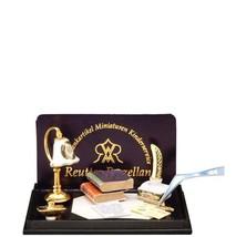 Dollhouse Irish Rose Desk Lamp & Blotter Set 1.875/6 Reutter Miniature - $37.08