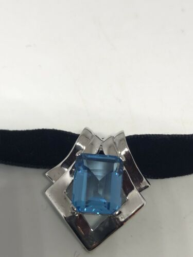 Vintage Genuine Blue Topaz Deco Sterling Silver Rhodium Finish Pendant