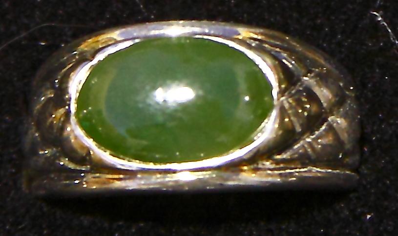 Polar Jade Ring Sterling Silver Mount NEW (oval) Bonanza