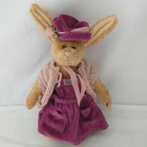 Boyds Bears Emily Babbit Plush Rabbit Purple Dress Hat 1998 Retired Join... - $19.99