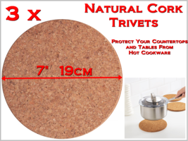 """NEW Protect Countertops from Hot Cookware -3pcs 7"""" 19cm Natural Cork Tri... - $12.99"""