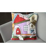 Decorative Picasso Inspired Silk Embroidered Throw Pillows - HOUSES - $50.00