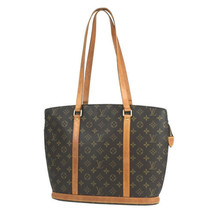 Auth Louis Vuitton Monogram Shoulder Tote Bag Brown Leather Zipper Logo ... - $447.48