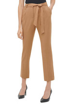 NWT CALVIN KLEIN BROWN CAREER BELTED PANTS SIZE 16 $79 - $41.99