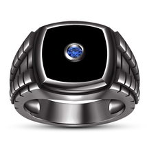 Round Cut Blue Sapphire Engagement Band Ring 14k Black Rhodium Finish 925 Silver - $93.66