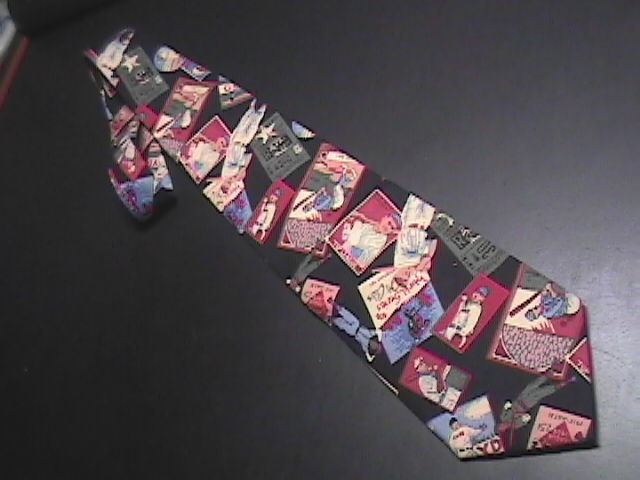American Eagle Cotton Neck Tie Early 1900's Baseball Theme on Black American Eagle