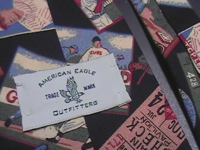 American Eagle Cotton Neck Tie Early 1900's Baseball Theme on Black