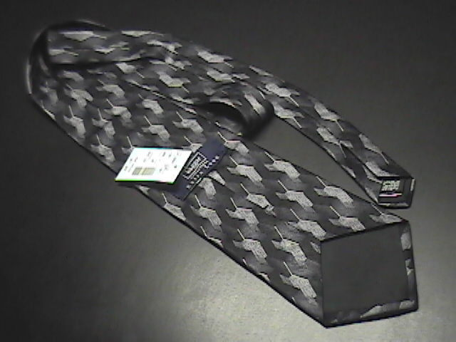 Haggar Silk Neck Tie Extra Long Grays and Black Unused with Paper Retail Tag