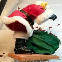 """VINTAGE SANTA CLAUS WITH BAG OF TOYS ON HEAVY CERAMIC FLOOR BASE -  10""""X10"""" image 9"""